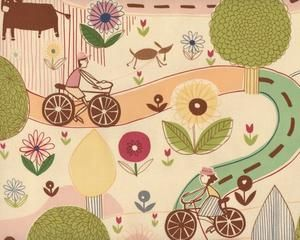 """Patchworkstoff """"Park & Ride"""", Landschaft mit Kugelbäumen und Radfahrern, gedecktes hellgrün-aprikot"""