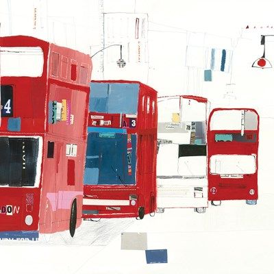 London Buses Art Greeting Card By Liz and Kate Pope | Whistlefish Galleries
