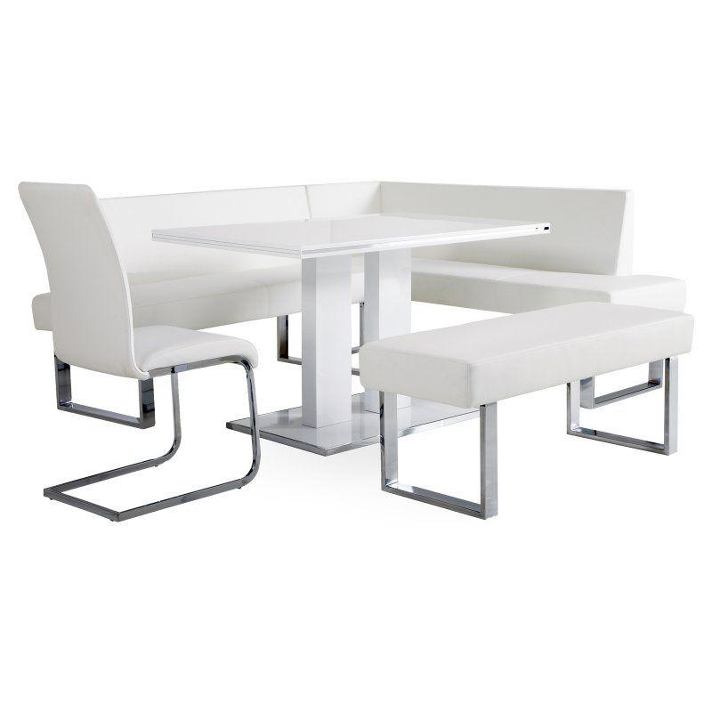 armen living amanda 5 piece corner nook dining set with benches