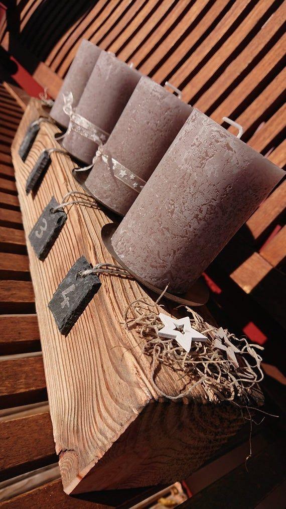 Adventsbalken groß mit Deko & Kerzen Altholz Optik / Adventskranz