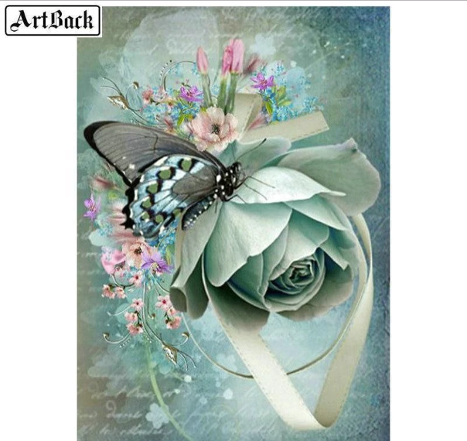 1x Printed Tapestry Thread Canvas Pink Roses Butterflies Sewing Craft Tool Art