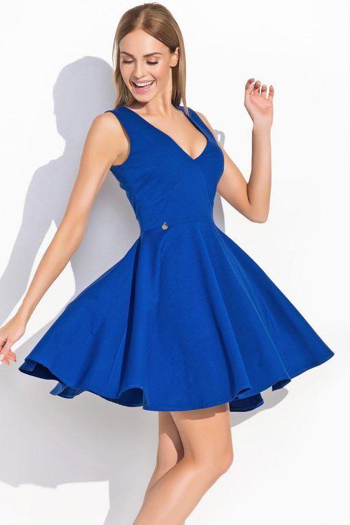 4509050ec1b5 Niebieska sukienka rozkloszowana głęboki dekolt fashion4u.pl ...