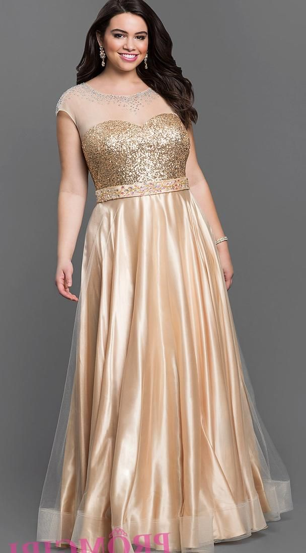 Plus Size Gold Evening Dress