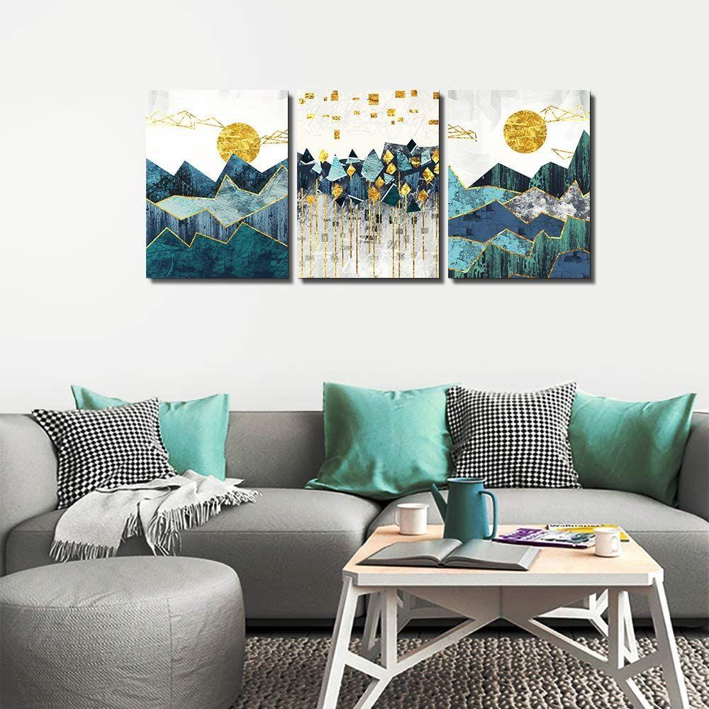 Ahuaart 3 Pieces Framed Canvas Wall Art Modern Bedroom Wall Decor Yellow Wall Decor Wall Decor Bedroom