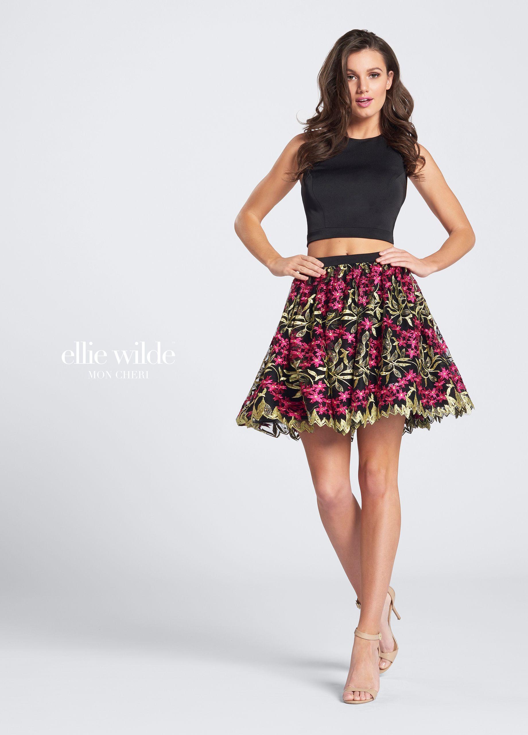 Twopiece short open back homecoming dress ellie wilde ews