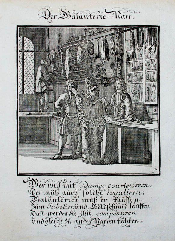 Kupferstich aus einem Narrenbuch von Abraham a Sancta Clara. Galantierie-Narr. Nürnberg, Weigel, um 1710.