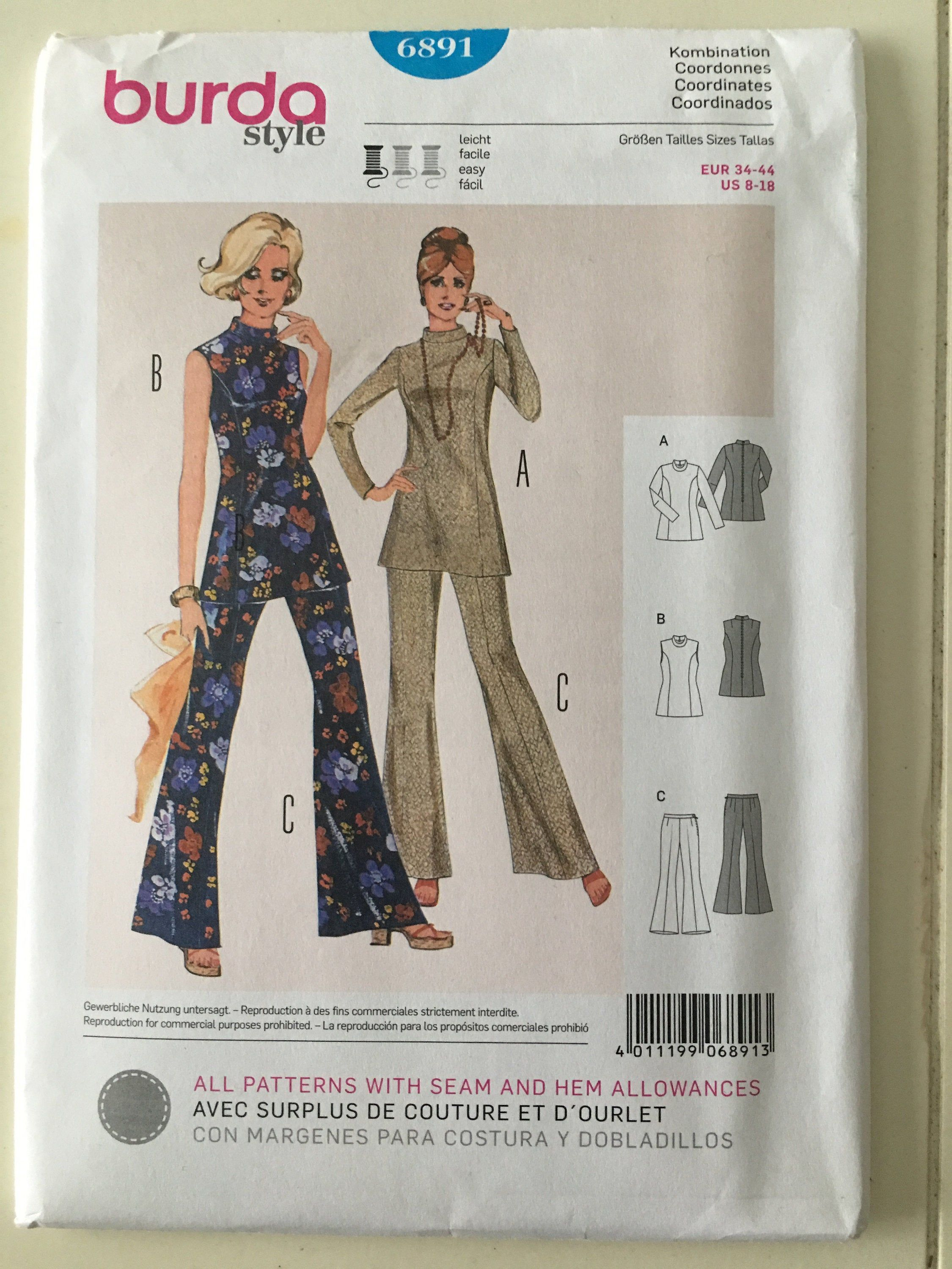 UC 70/'s Lot of 4 Sewing Patterns Simplicity Dress Pants Wide Leg Pants Jacket Vest Easy to Sew Tunic Size 8