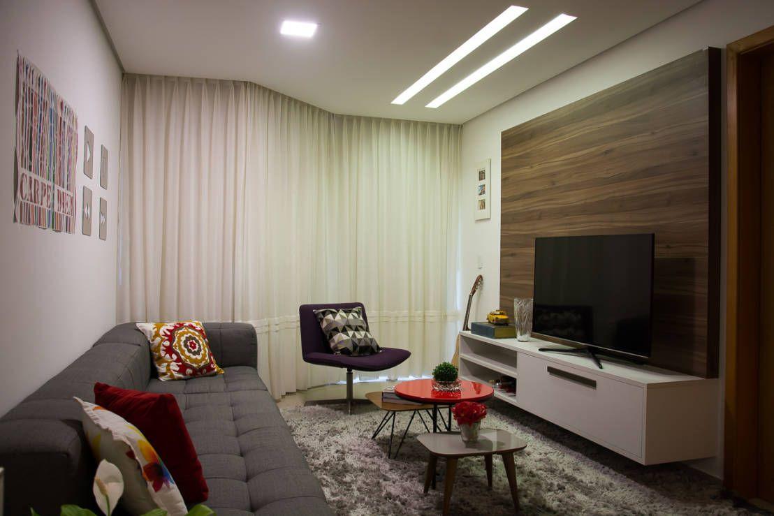 Apartamento Passo D´Areia : Salas multimídia modernas por Bibiana Menegaz Arquitetura de Atmosfera