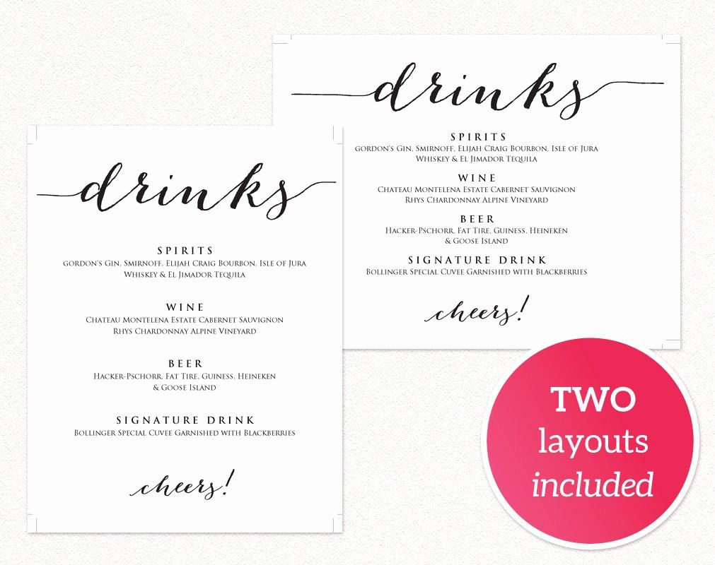 Free Printable Drink Menu Template Elegant Drinks Menu
