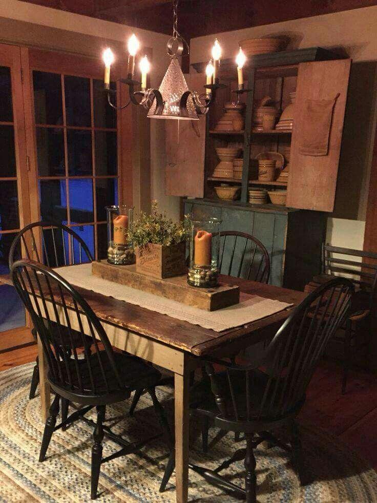 primitive dining room sets   Love primitive!!   Primitive dining rooms, Primitive kitchen
