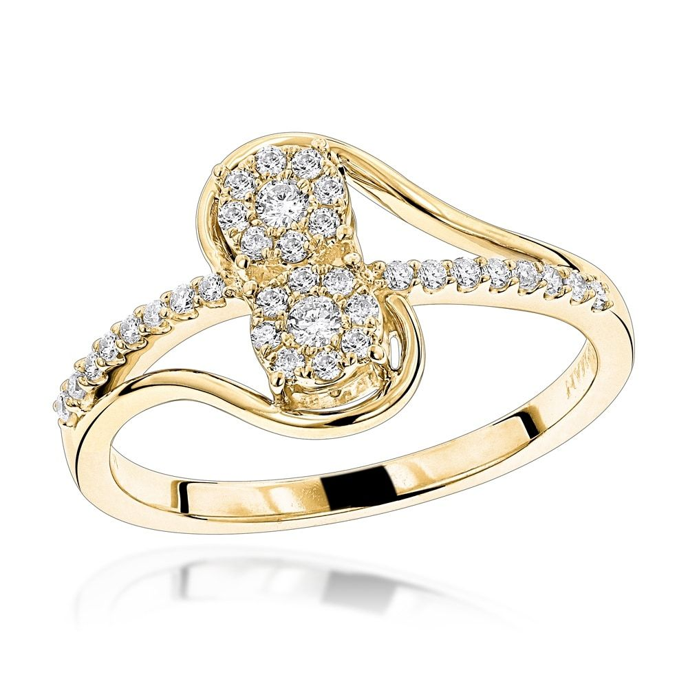 Love & Friendship Rings: This 14K Gold 2 Cluster Diamond Ladies Ring is an elegant diamond ring features 1/4 carats of round dazzling white diamonds set in 14K gold base - two sparkling round cut diamond clusters pave set in a swirl design with diamonds.…