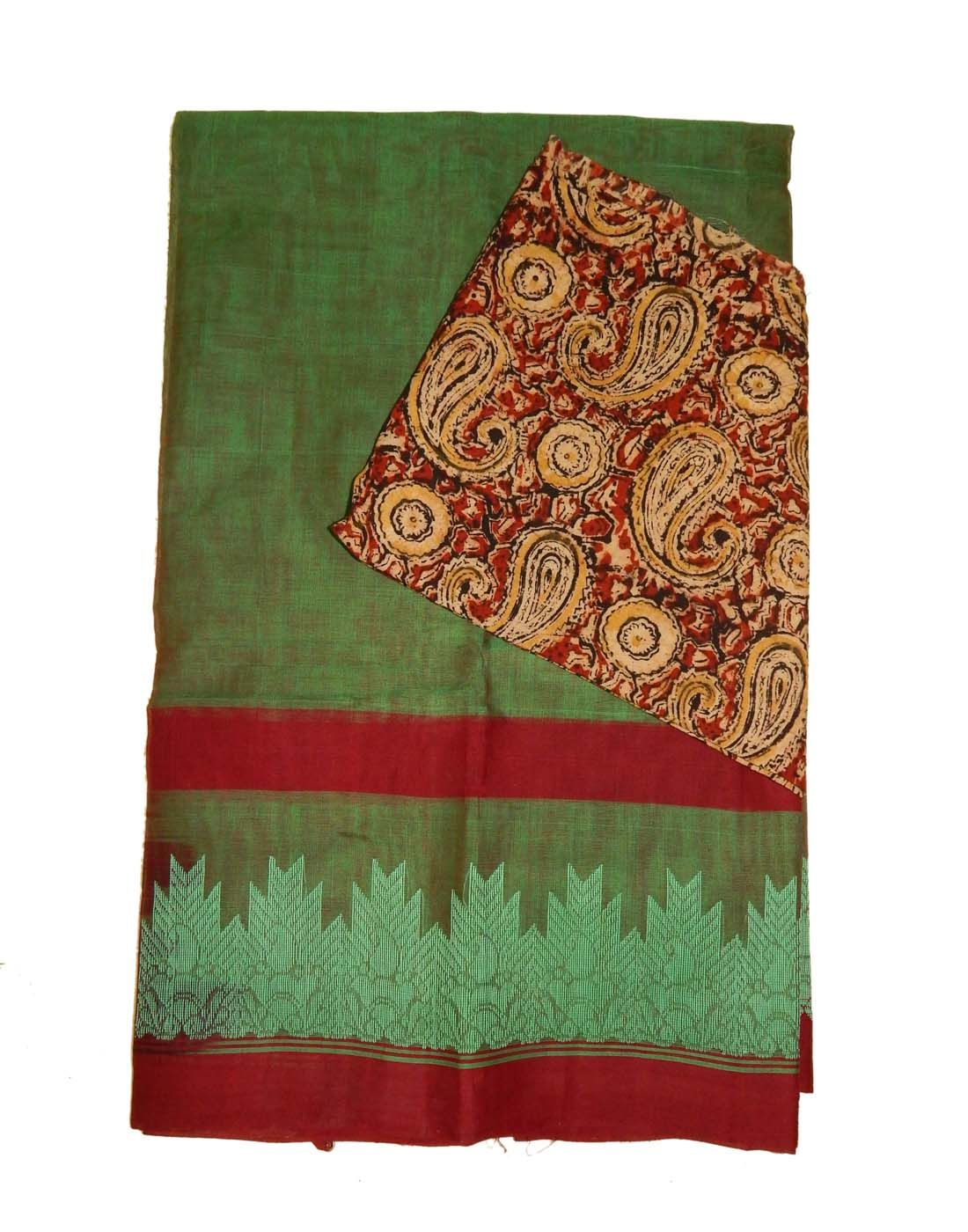 Kanchi Cotton Sarees With Kalamkari Blouse Price 1555 For Bulk