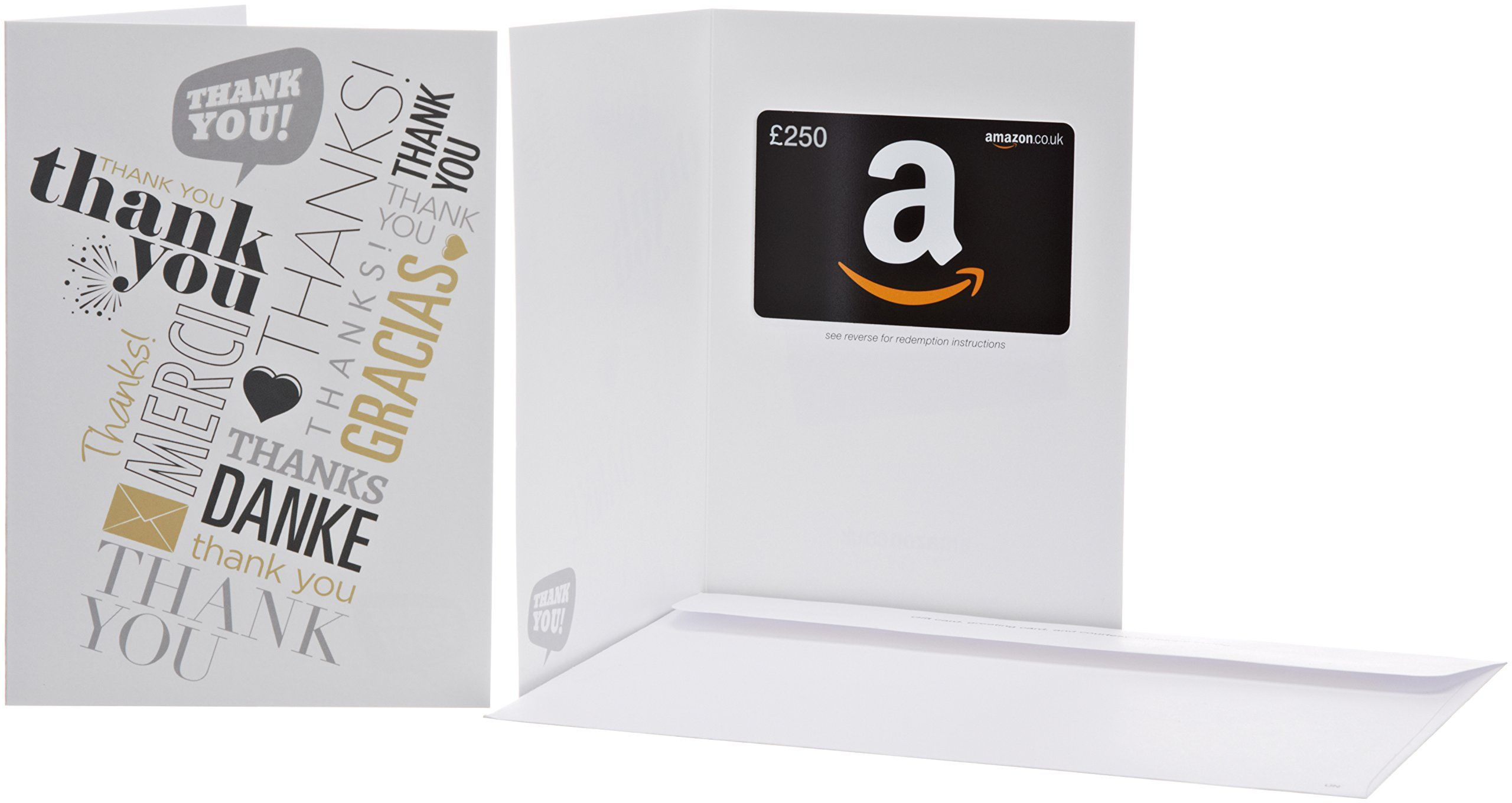 Gift Card is affixed inside a blank greeting card with a