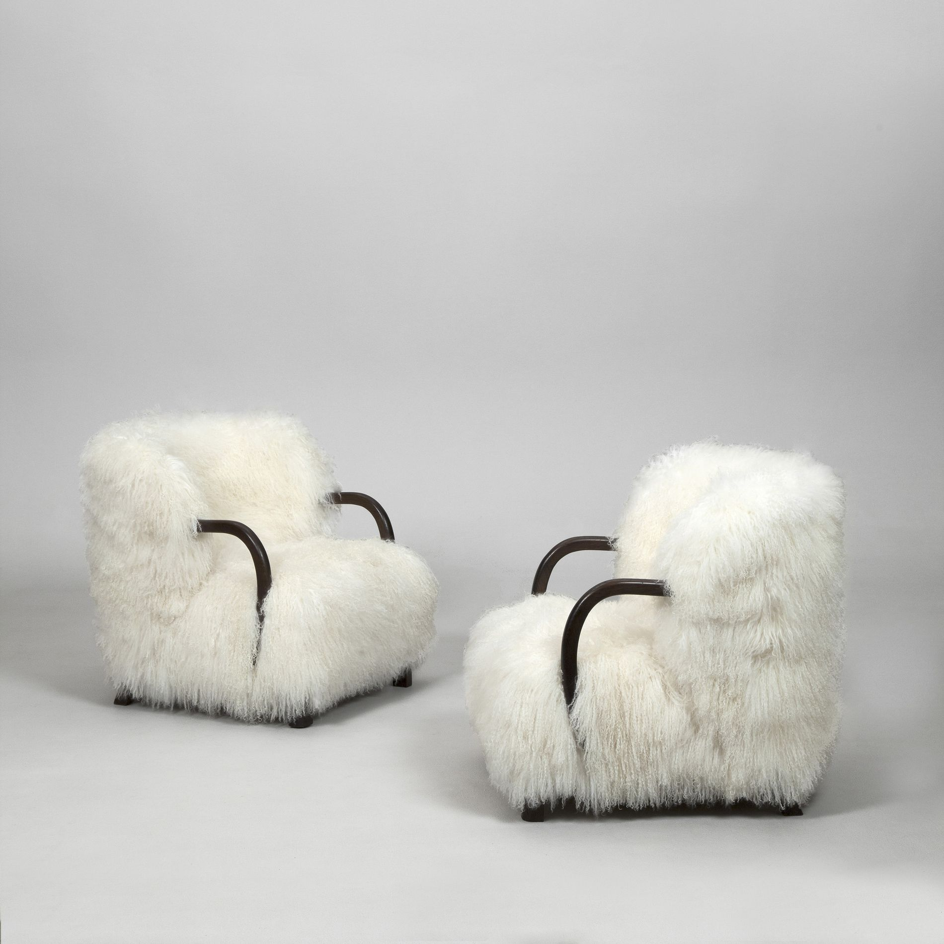 Viggo Boesen Attributed; Oak and Goat Wool Lounge Chairs by Mobelvaerk Edition Slagelse, 1940.