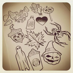 Image result for halloween themed tattoo flash