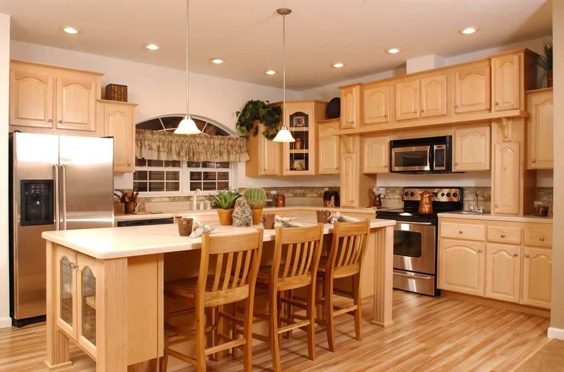 Kitchen Light Wooden Standing Kitchen Cabinets Color And Cooktop ...