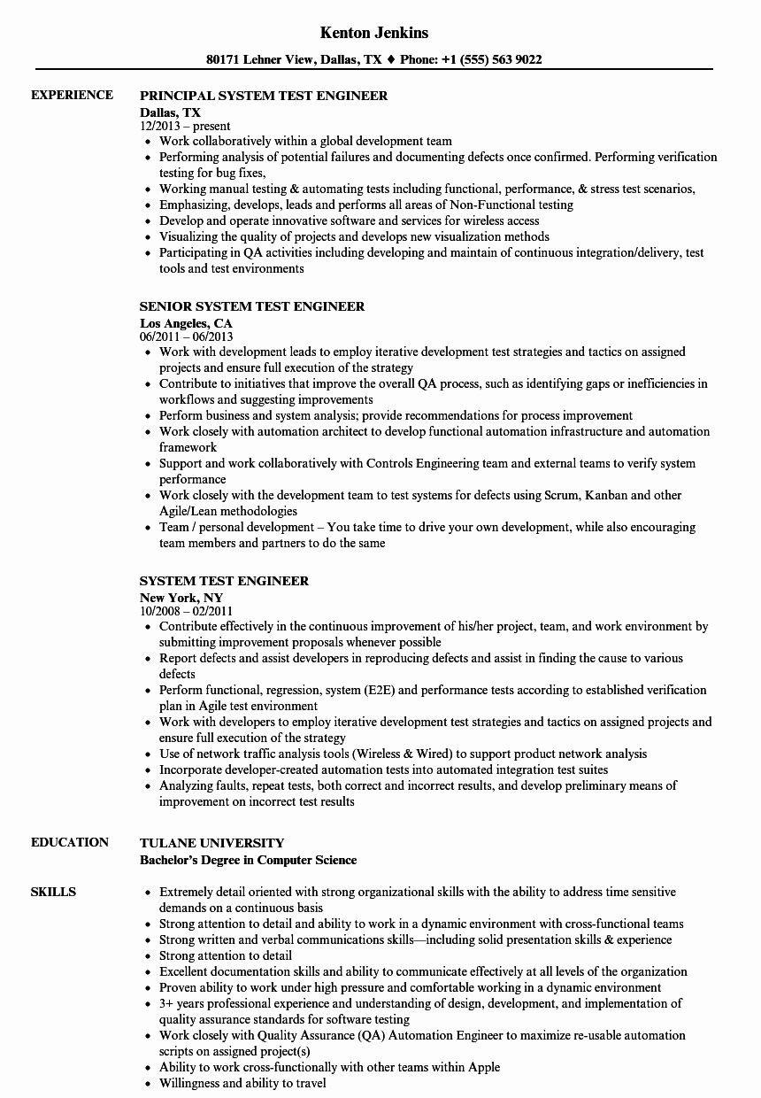 27 System Engineering Resume Examples In 2020 Resume Examples