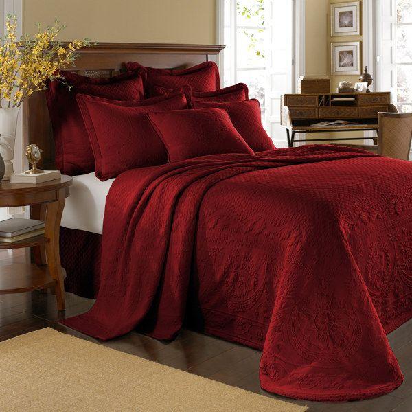 King Charles Matelasse Scarlet Bedspread, 100 Cotton