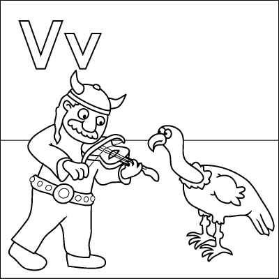 Letter V Coloring Page Viking Violin Vulture Color It In