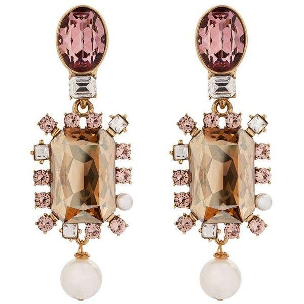 7b17192dece Oscar de la Renta Crystal Pearl Drop Clip-On Earrings (17085 TWD) ❤ liked  on Polyvore featuring jewelry, earrings, drop clip earrings, crystal  jewellery, ...