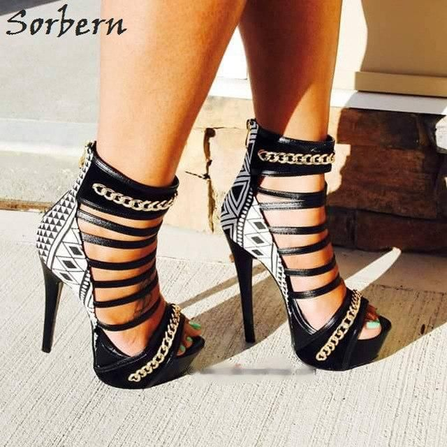 4ee5b50e6 Sorbern Black And White Chain Gladiator Style Sandals For Women High Heels  Platform Open Toes Summer Shoes For Women Heels 2018