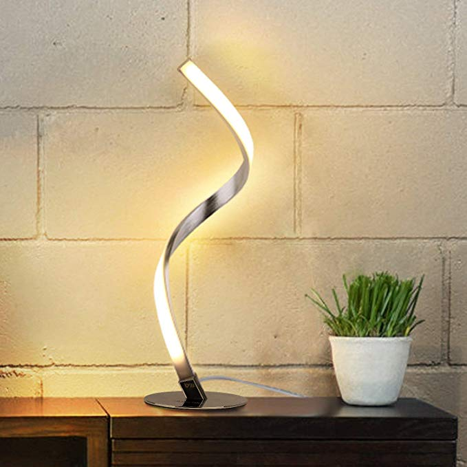 Albrillo Spiral Design Led Table Lamp Touch Sensor Dimmable Desk Lamp Warm White 3000k Bedside Lamps Of St Minimalist Desk Lamp Bedside Lamp Nightstand Lamp
