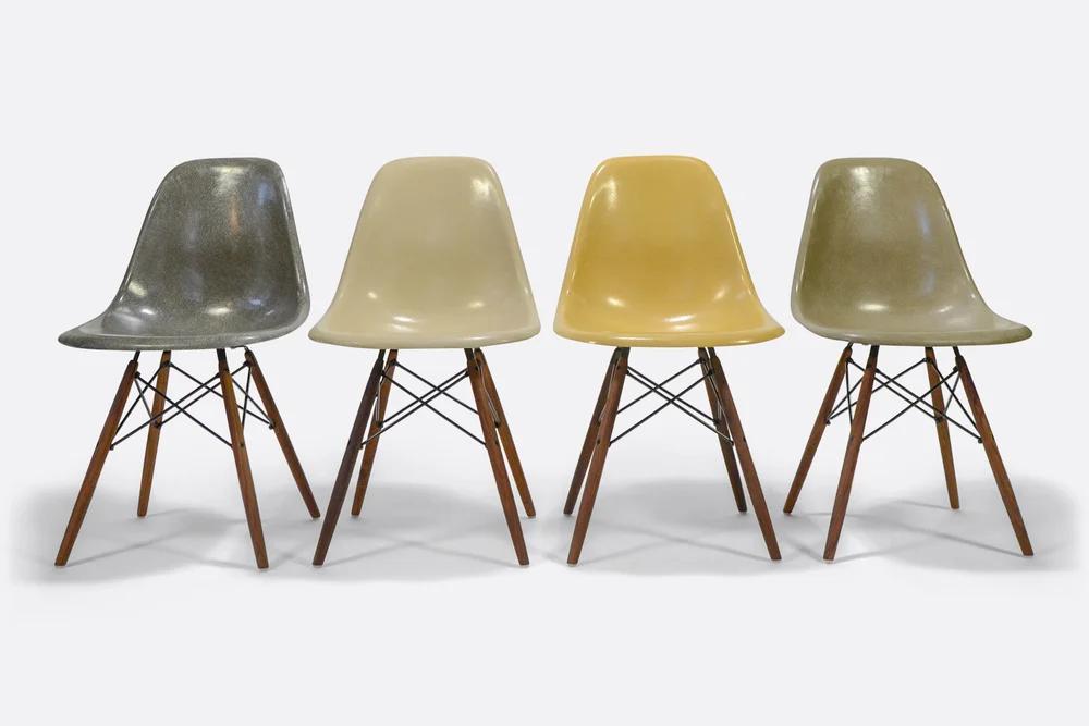 Herman Miller Set Of 4 Side Chair In Different Colors Vintage Fiberglass In 2020 Eames Fiberglass Chair Eames Dsw Chair Vintage Eames