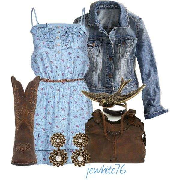 """""""Bluebird"""" by jewhite76 on Polyvore- prettier if you lose the cowboy boots! I'm from Texas, and I know fashion changes, but to cowboy boots with dresses will always look weird."""