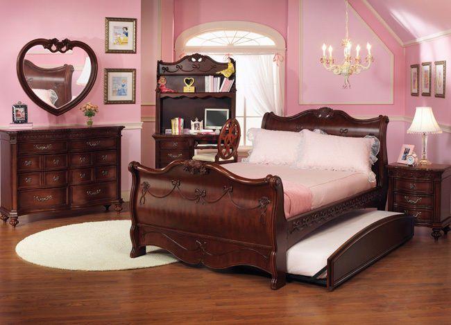 Disney Princess Girls Cherry 3 Piece Twin Sleigh Bed Bedroom Set ...