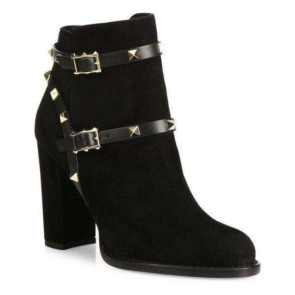 99bb511dc9e Valentino Rockstud Suede Block-Heel Booties ( 1