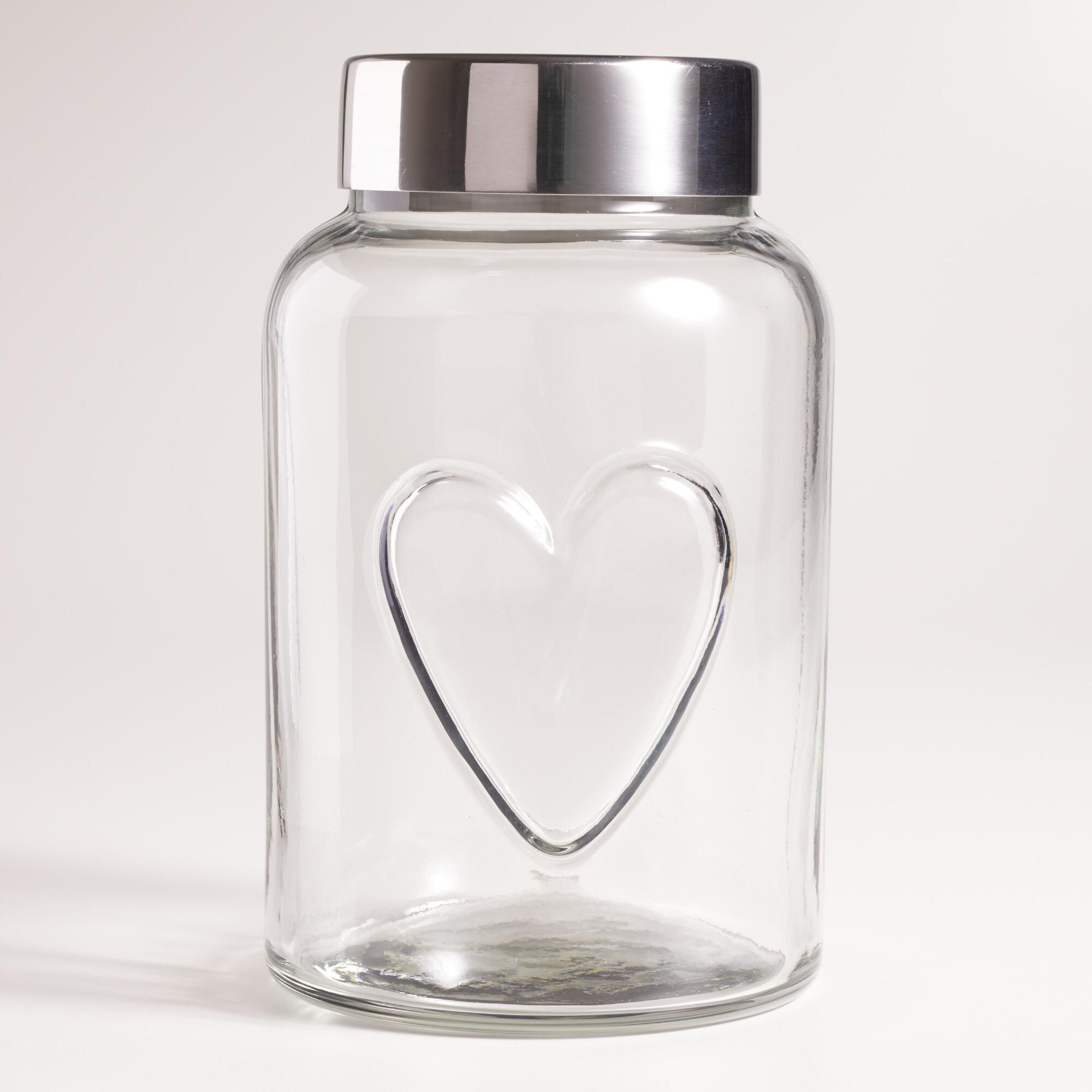Airtight Cookie Jar New Made Of Glass With An Embossed Heart Our Retrostyle Storage Jar Design Decoration