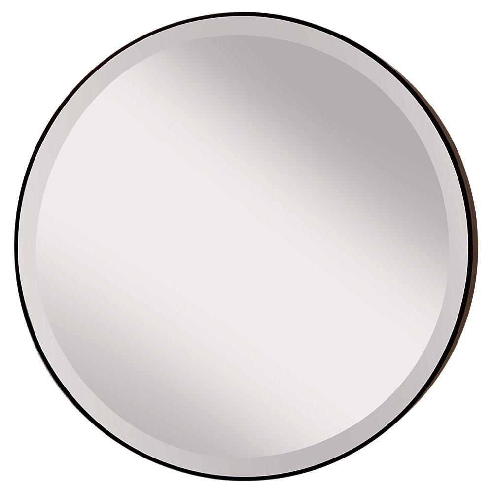 Feiss Johnson 28 5 In W Round Circle Glass Wall Decor Mirror With 2 In W Oil Rubbed Bronze Frame And Bevele Mirror Wall Wall Mounted Mirror Round Wall Mirror