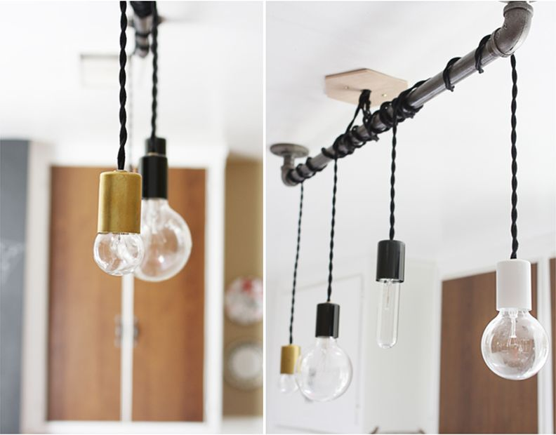 diy pipe lighting. pendant hanging from pipe so there you have it a simple upgrade to make diy lighting