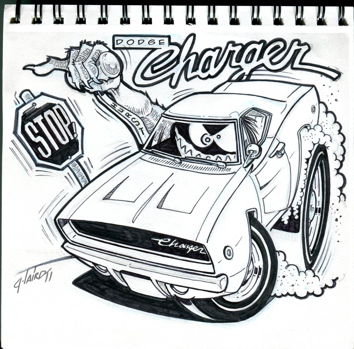 Mopar Charger With Images Art Cars Charger Art Car Drawings