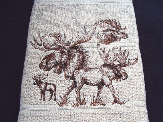 Moose Kitchen Dish Towel With Four Moose Embroidered By Pjsembroidery On Etsy Kitchen Dish Towel Dish Towels Moose