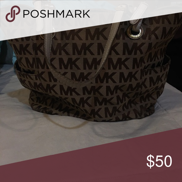 Used Michael Kors Tote Bag Brown And Light Beige Bags Totes