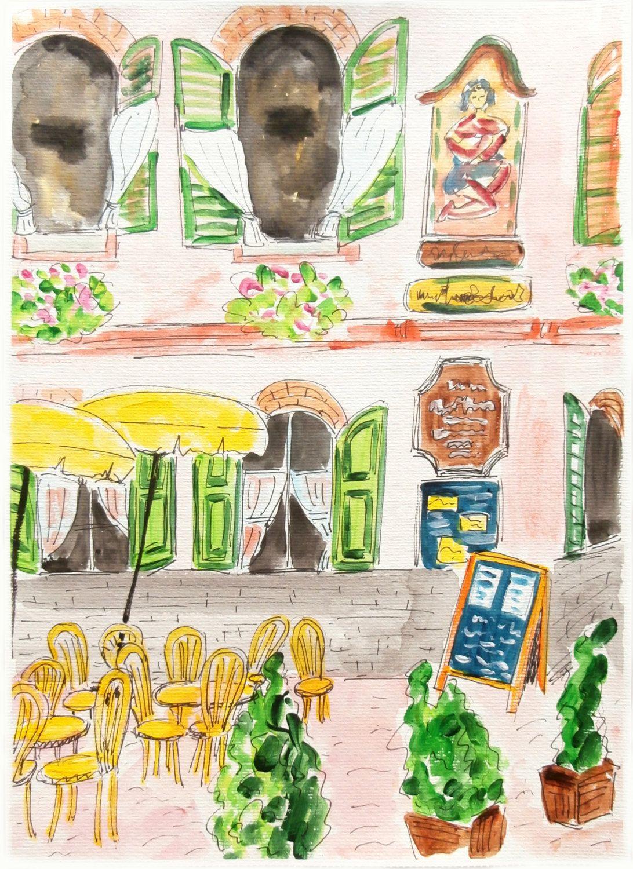 Cafe in Salzburg. by OldPenArtStudio on Etsy