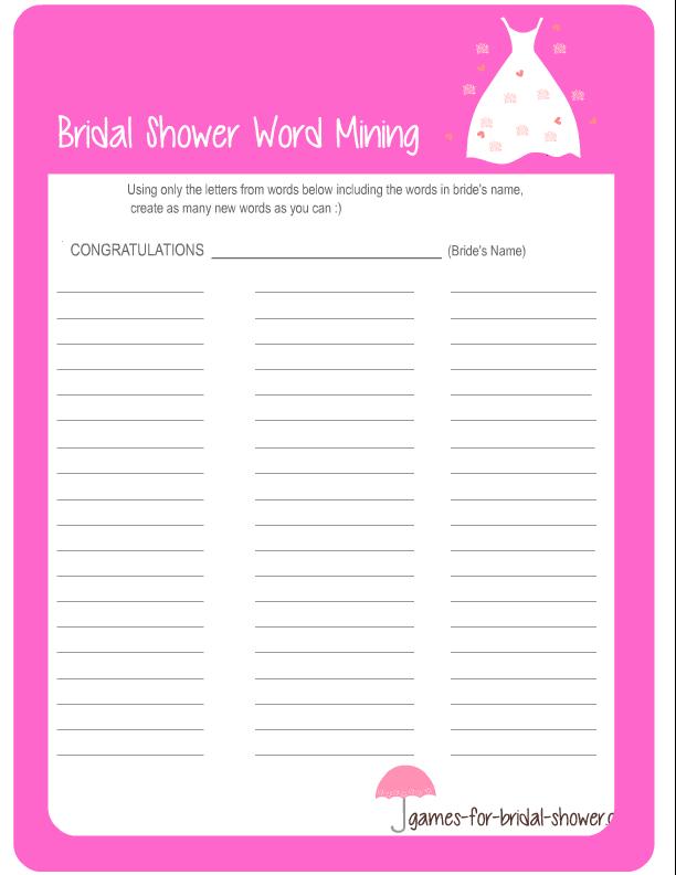 Free Printable Bridal Shower Word Mining Game
