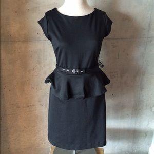 New York & Company Dresses & Skirts - New York & Company black peplum belted dress