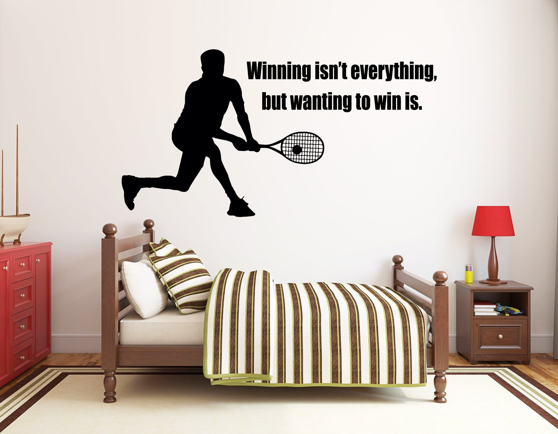 Tennis Wall Decal Tennis Wall Decor Tennis Wall Sticker Etsy In 2020 Wall Decals Custom Wall Decal Kids Wall Decals