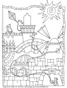 A coloring page for kids to enjoy (Jerusalem themes) From