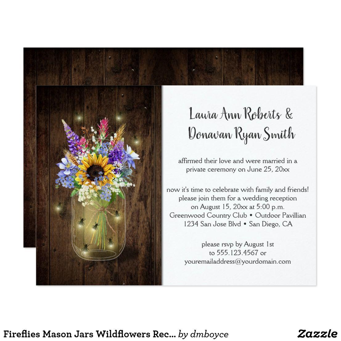 Fireflies Mason Jars Wildflowers Reception Only Invitation ...
