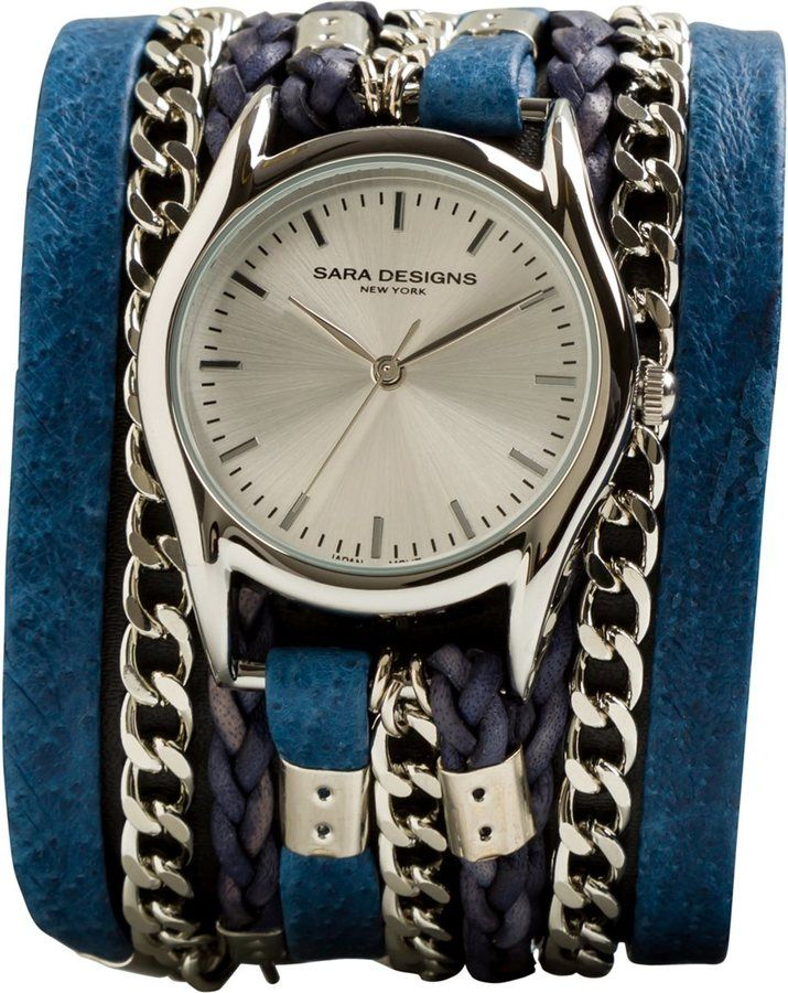 Sara Designs Antique Leather & Chain Wrap Watch $196 at Swell.