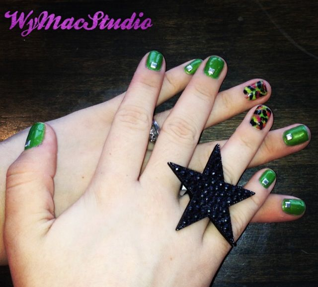 Green And Pink Camo Nail Design By Wy Mac Studio Alyssas