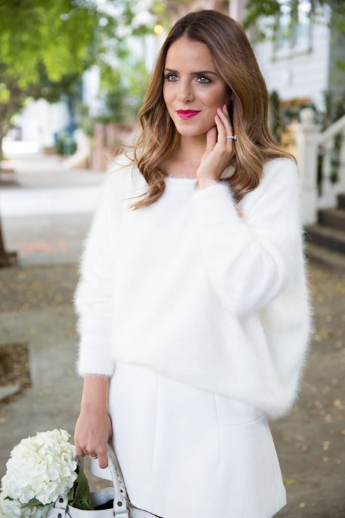 """Nili Lotan Sweater, J.Crew Skirt (25% off for a limited time), Balenciaga Bag, kate spade new york pumps, Bite Lip Crayon in """"Quince"""" An all white outfit is always timeless and chic and is so refreshing ..."""