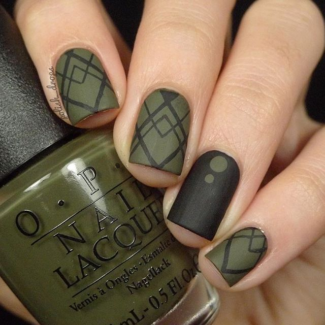 Matte Olive Green And Black Geometric With Opi Suzi The First Lady Of Nails By Ig Polish Drops With Images Green Nails Matte Nails Design Geometric Nail