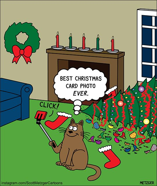 Cat S Christmas Selfie With Destroyed Tree The Bent Pinky By Scott Metzger Christmas Cats Christmas Humor Christmas Comics