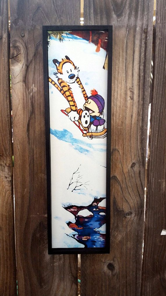Calvin and Hobbes Sledding Framed Print