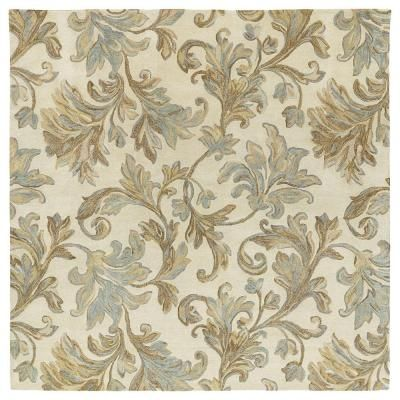Kaleen Calais Floral Waterfall Ivory 8 Ft X 8 Ft Square