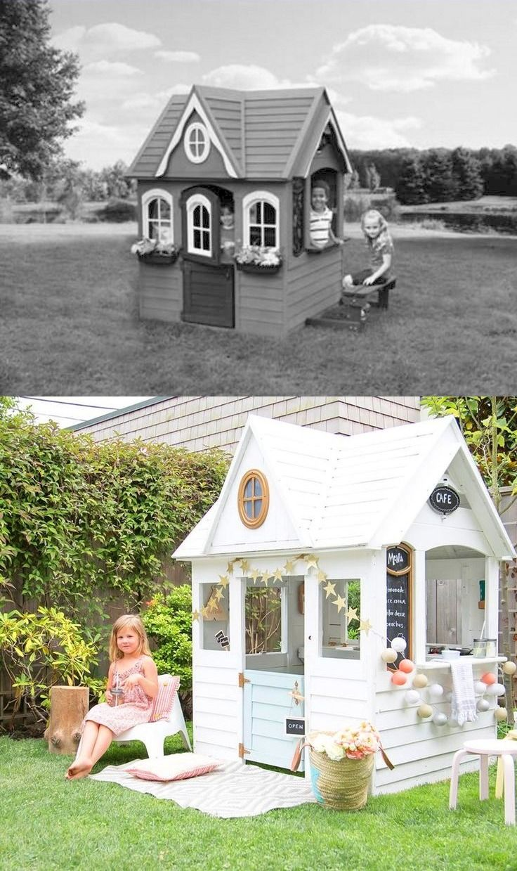 before and after costco playhouse makeover by winter daisy